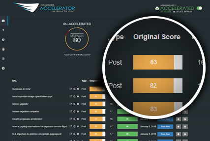 Pegasaas Accelerator Showing Individual Pages Google PageSpeed Score Before Acceleration