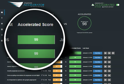 Pegasaas Accelerator Showing Individal Pages Accelerated Google PageSpeed Score
